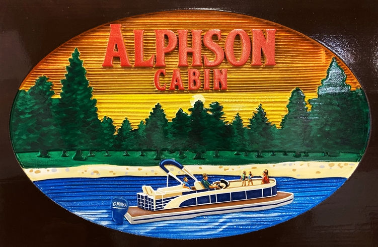 "M22511 - Carved and Sandblasted Wood Grain HDU ""Alphson Cabin"" , 2.5-D Artist-Painted, with Cruising Houseboat and Tree Background as Artwork"