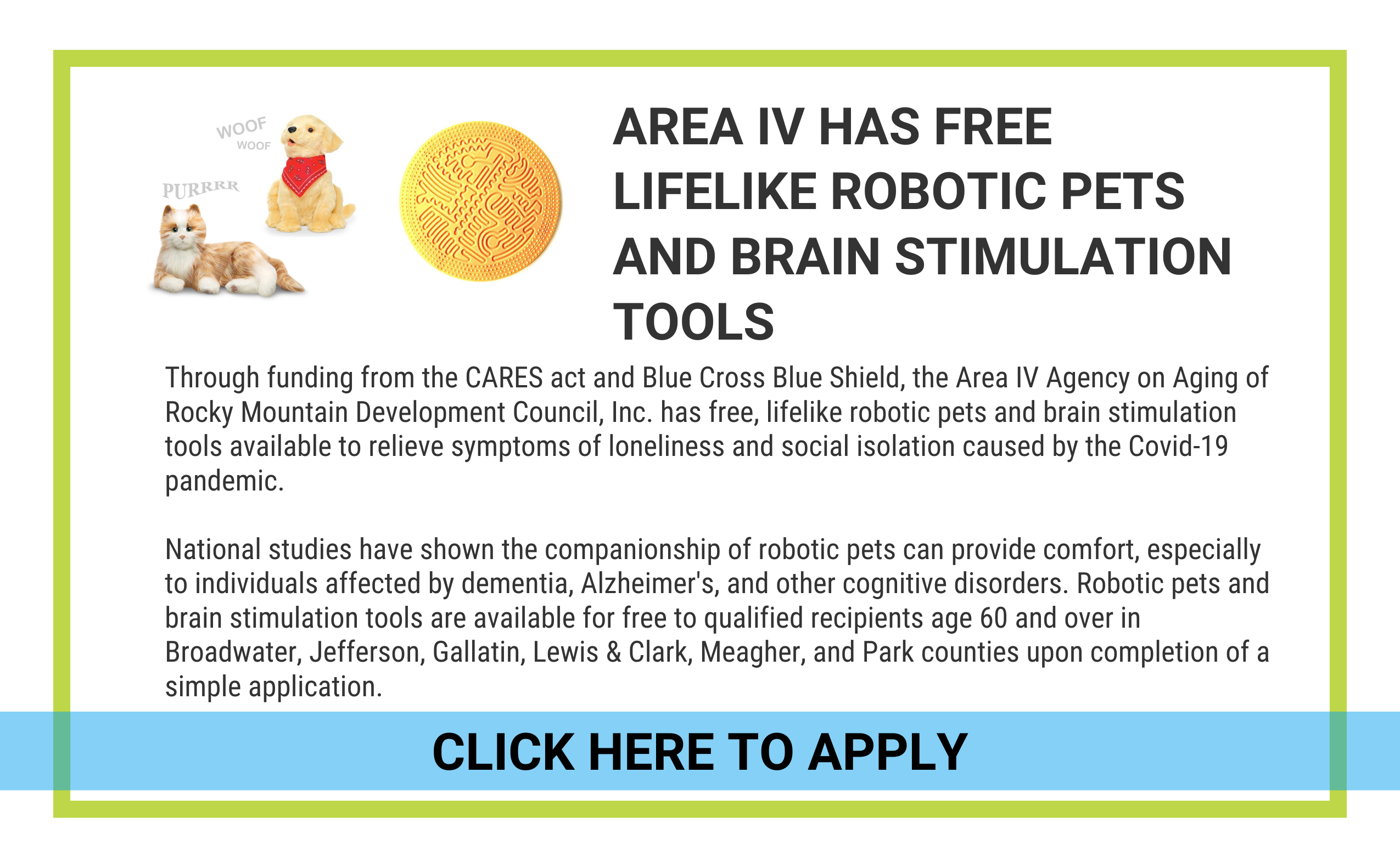 CLICK HERE TO APPLY FOR A ROBOT PET OR BRAIN STIMULATION TOOLS