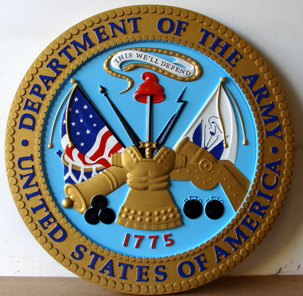 DG409 - Carved Custom  Round Wall Plaque of the  Seal of the United States Army - $380