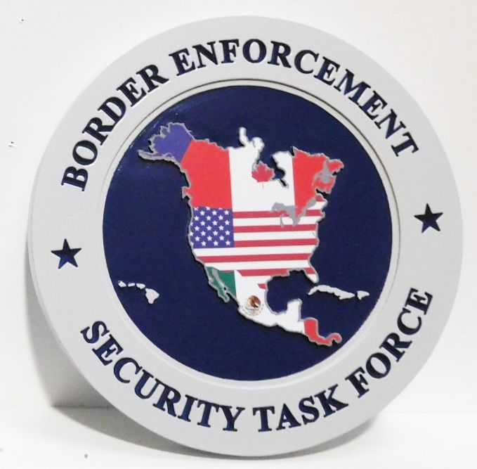 AP-4155 - Plaque Featuring the Seal of the Border Enforcement Security Task Force, 2.5-D with Giclee Artwork