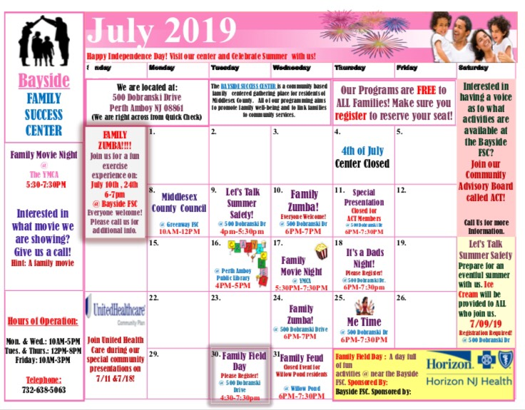 July Family Success Center Calendar
