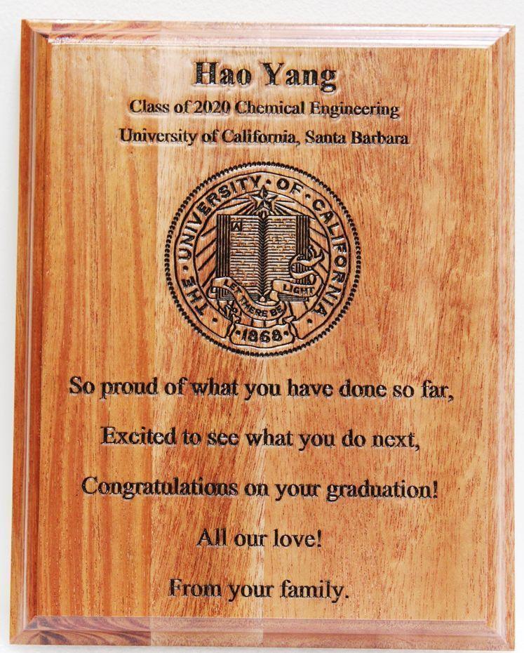 Y34492  - Engraved Mahogany Graduation Wall Plaquefor a Graduate of the University of California at Santa Barbara