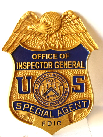 U30381 - FDIC Inspector General Special Agent Badge Carved Wood Wall Plaque