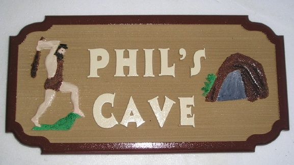 N23608 - 2.5-D carved and sandblasted wood grain HDU  Wall Plaque for a Man Cave