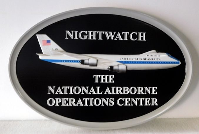 IP-1880 -  Carved Plaque of the Crest / Emblem of US National Airborne Operations Center, Artist Painted