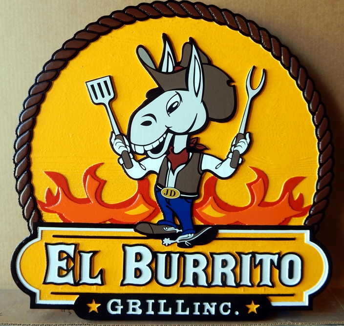 Q25805 - Carved, High Density Urethane Sign with Cartoon Donkey for El Burrito Grill Inc.