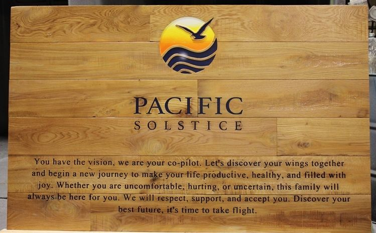 VP-1515 - Carved Engraved Cedar Wood Wall Plaque  for the Pacific Solstice Integrative Clinic