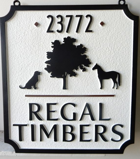 """O24809 - Sandblasted, Sandstone Look HDU Sign for """"Regal Timbers"""" with Sillouhette of Tree, Horse and Dog"""
