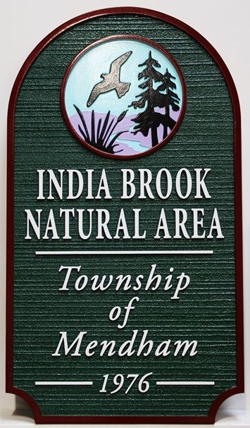 GA16485 - Carved & Sandblasted HDU Entrance  Sign for the India Brook Natural Area