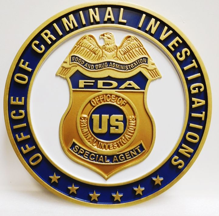 PP-1544 - Carved Badge of the Badge of a Special Agent,  Criminal Investigations of the  Federal Drug Administration, 2.5-D Artist-Painted
