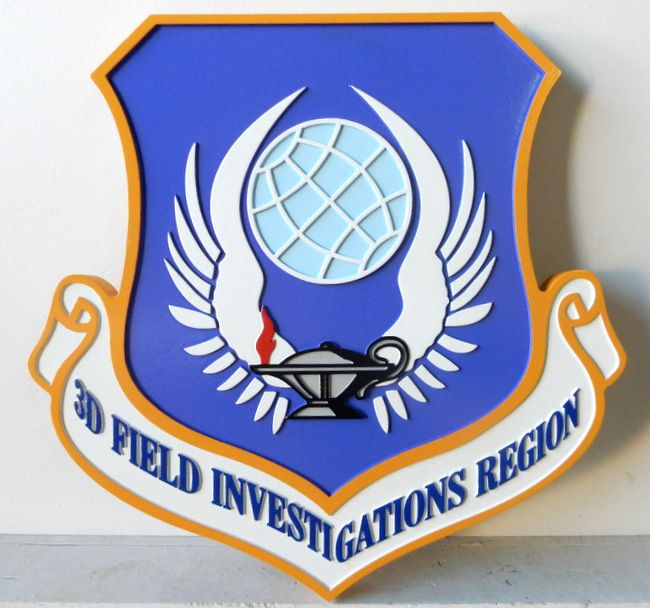 V31614 - Carved HDU or Wood Shield Wall Plaque of the Crest of the 3rd Field Investigations Region