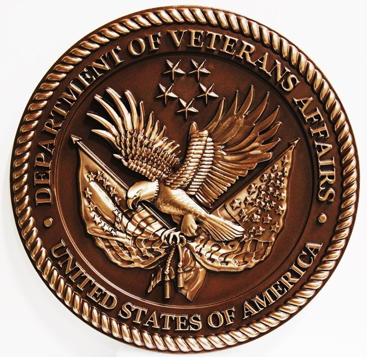 M7015 - 3-D Bronze-plated Plaque of  the Seal of the Department of Veteran's Affairs.