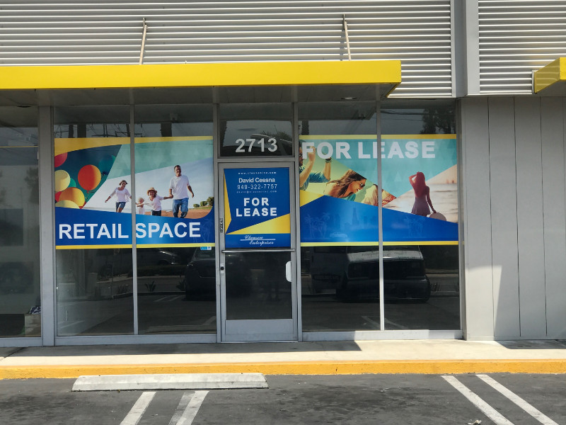 Tenant For Lease Window Graphics for Property Managers in Anaheim