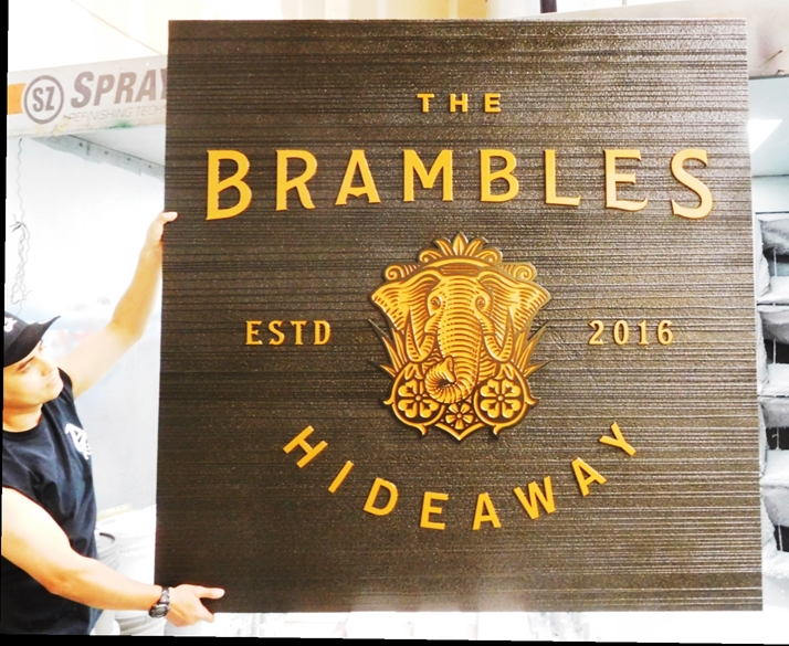 "T29016 - Carved and Sandblasted Wood Grain Sign for the ""Brambles Hideaway"", 2.5-D Artist-Painted"