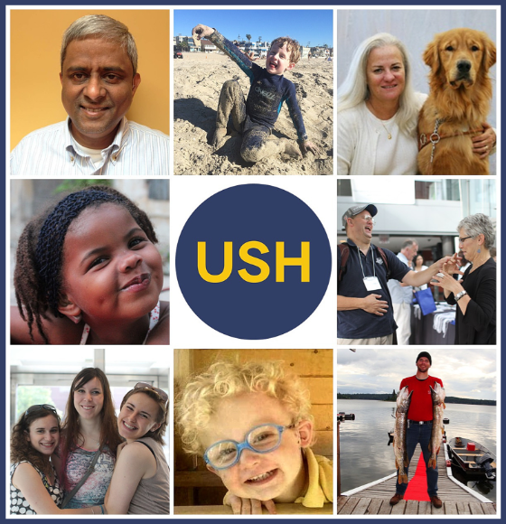 A photo collage of people affected by Usher Syndrome with the USH logo in the middle