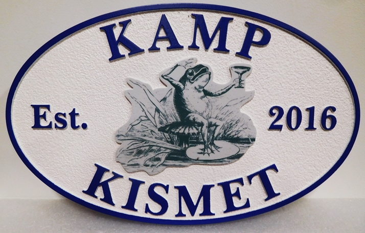 G16338 - Carved Entrance Sign for  Kamp Kismet, 2.5-D with Giclee Applique as Artwork
