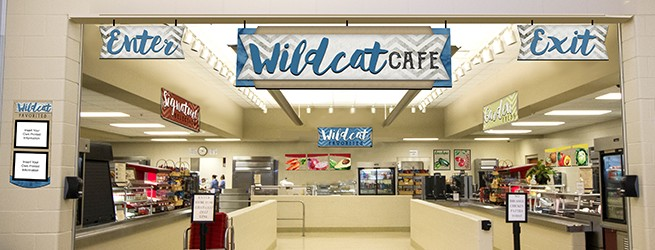 Cafeteria signs with calligraphy script look, custom colors, custom signs, menu boards