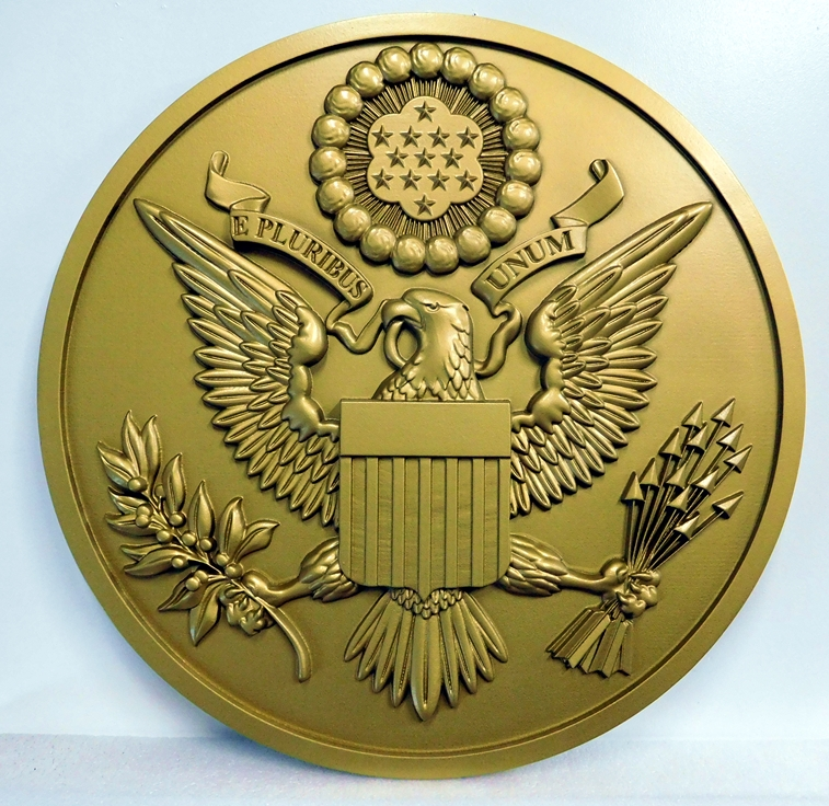 U30041  - Brass-coated Carved 3-D Wall Plaque of the Great Seal of the USA