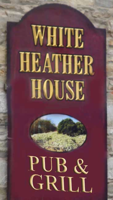 "RB27665 - English Pub and Grill Wall Sign for the ""White Heather House"" with Carved Letters and Hand-Painted Art"