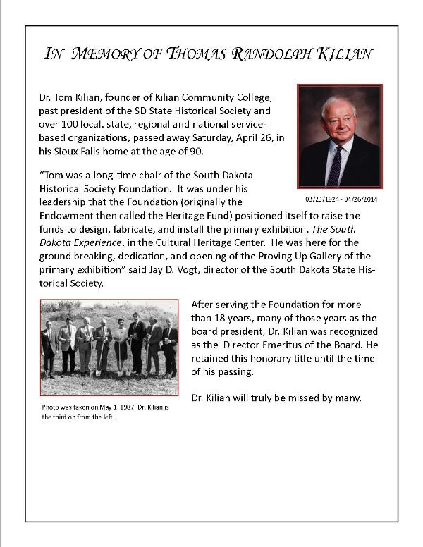 In Memory of Dr. Thomas Randolph Kilian