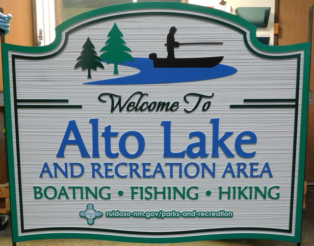 G16320 - Carved HDU Welcome Sign to Lake Recreation Area for Boating, Fishing, Hiking