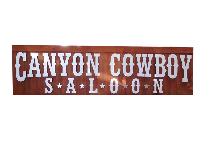 "RB27102 -  Cedar Wood Rustic ""Western Canyon Cowboy Saloon"" Sign, with Cut-Out Letters"