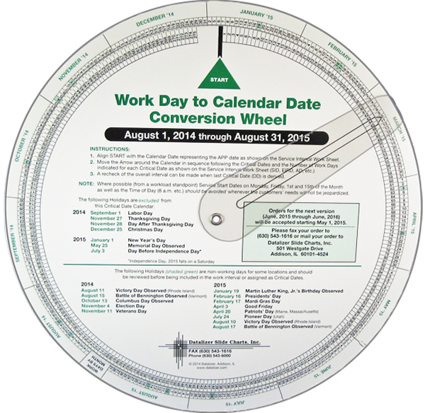 Scheduling Wheel Chart Work Day To Calendar Date Conversion By Datalizer