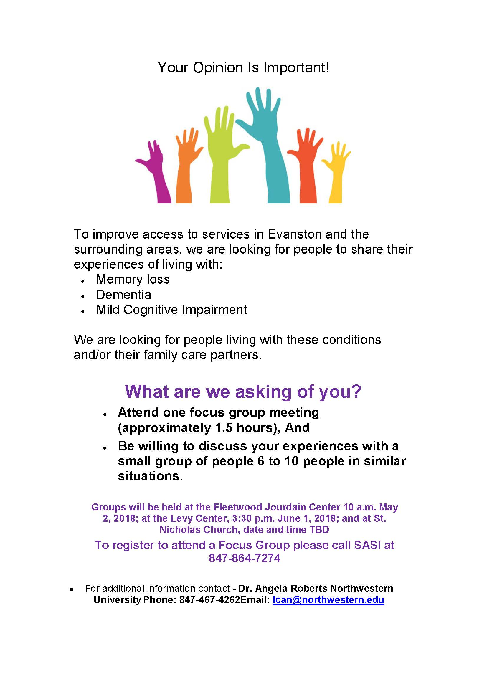 Dementia Friendly Evanston Focus Groups