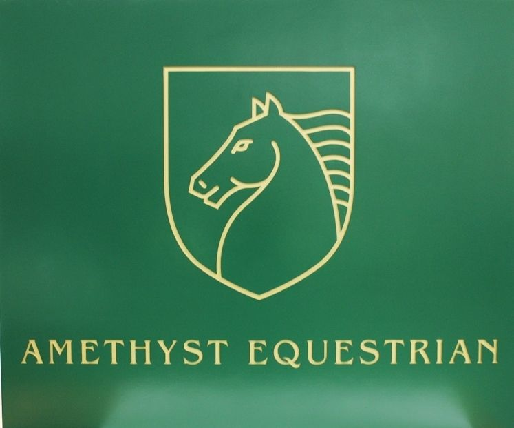 """P25131 - Carved Sign for """"Amethyst Equestrian"""" features a Stylized Profile View of a Horse's Head"""