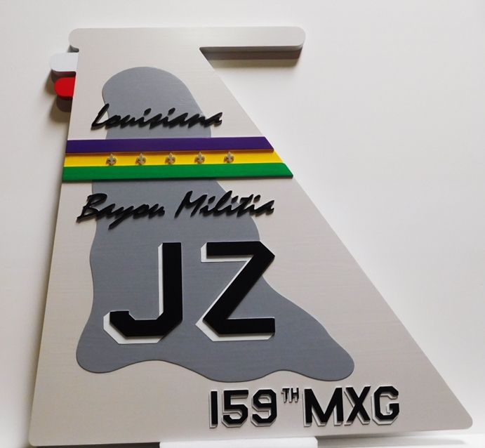 LP-2750 - Carved Plaque of the Tail Crest of the JZ Louisiana Bayou Militia, 159th MXG, Artist Painted