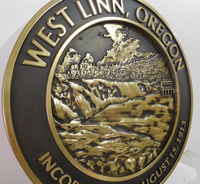 DP-2360 - Carved Plaque of the Seal of the City of West Linn, Oregon,  Brass Plated