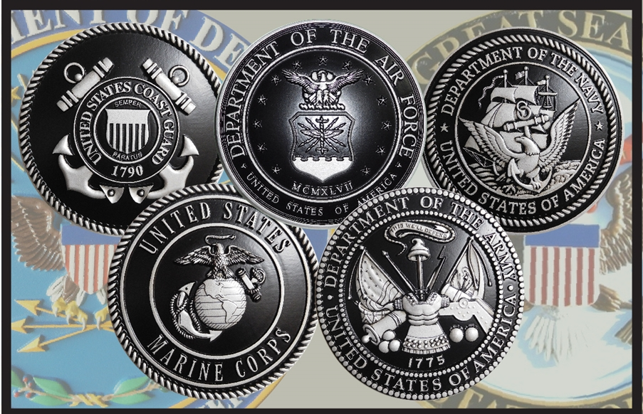 V31013 - Carved 3-D  Bas-Relief Wall Plaques of Five Service Seals, Painted Metallic Silver with Hand-Rubbed Black Accents and Backgrounds
