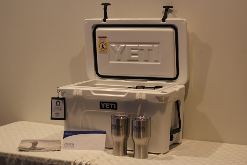 Yeti Cooler, $50 Winerak gift card, (2) CNB tumblers - Donated by Century National Bank