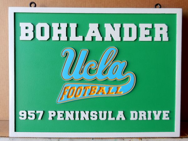 FA15588 - Carved Address Sign with UCLA logo