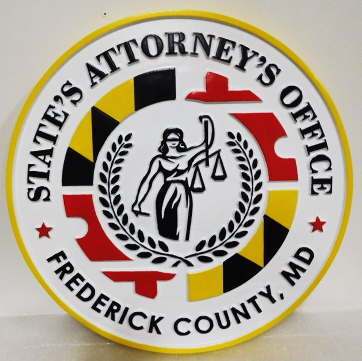 GP-1432 - Carved Plaque of the Seal of a State's Attorney Office, State of Maryland, 2.5-D,  Artist-Painted