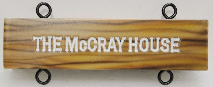 F15956 - Engraved HDU Hanging Sign for  the Historical McCray House, wit Painted Faux Wood Grain