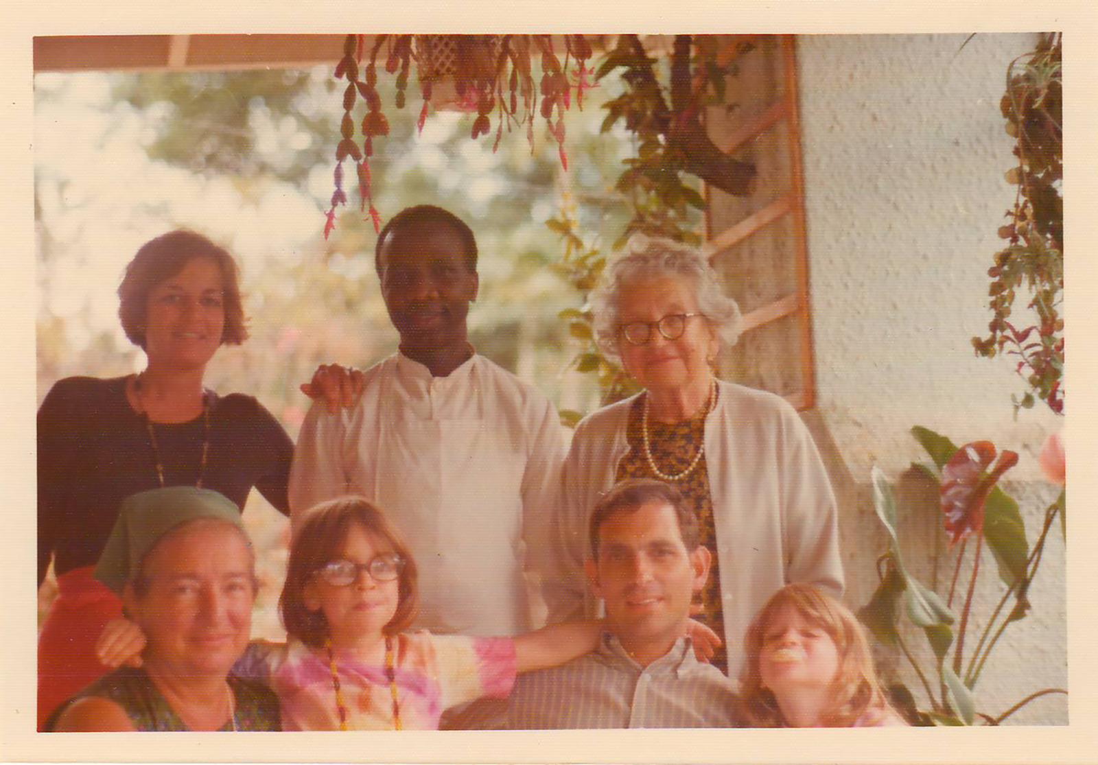 Tana Senn's family in Kenya. Top row, left to right: Eve Senn (mother), Lazaro, Selma Liebschutz (great-grandmother). Bottom row: Lisa Rozsa (grandmother), Mara Senn (sister), Dick Senn (father), Tana.