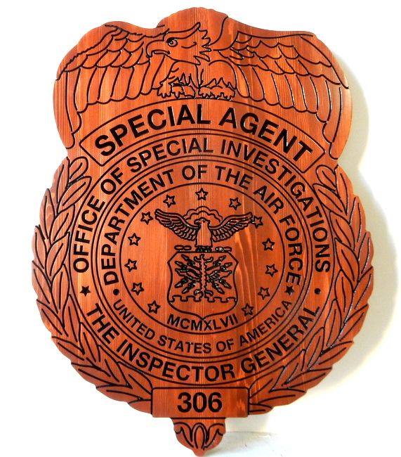 PP-1550 - Engraved Wall Plaque of a Special Agent Badge, Dept. of the Air Force Inspector General,  Cedar Wood