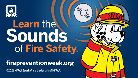"""National Fire Protection Association's National Fire Prevention Week logo featuring Sparky the fire dog and this year's slogan, """"Learn the sounds of fire saftey."""""""