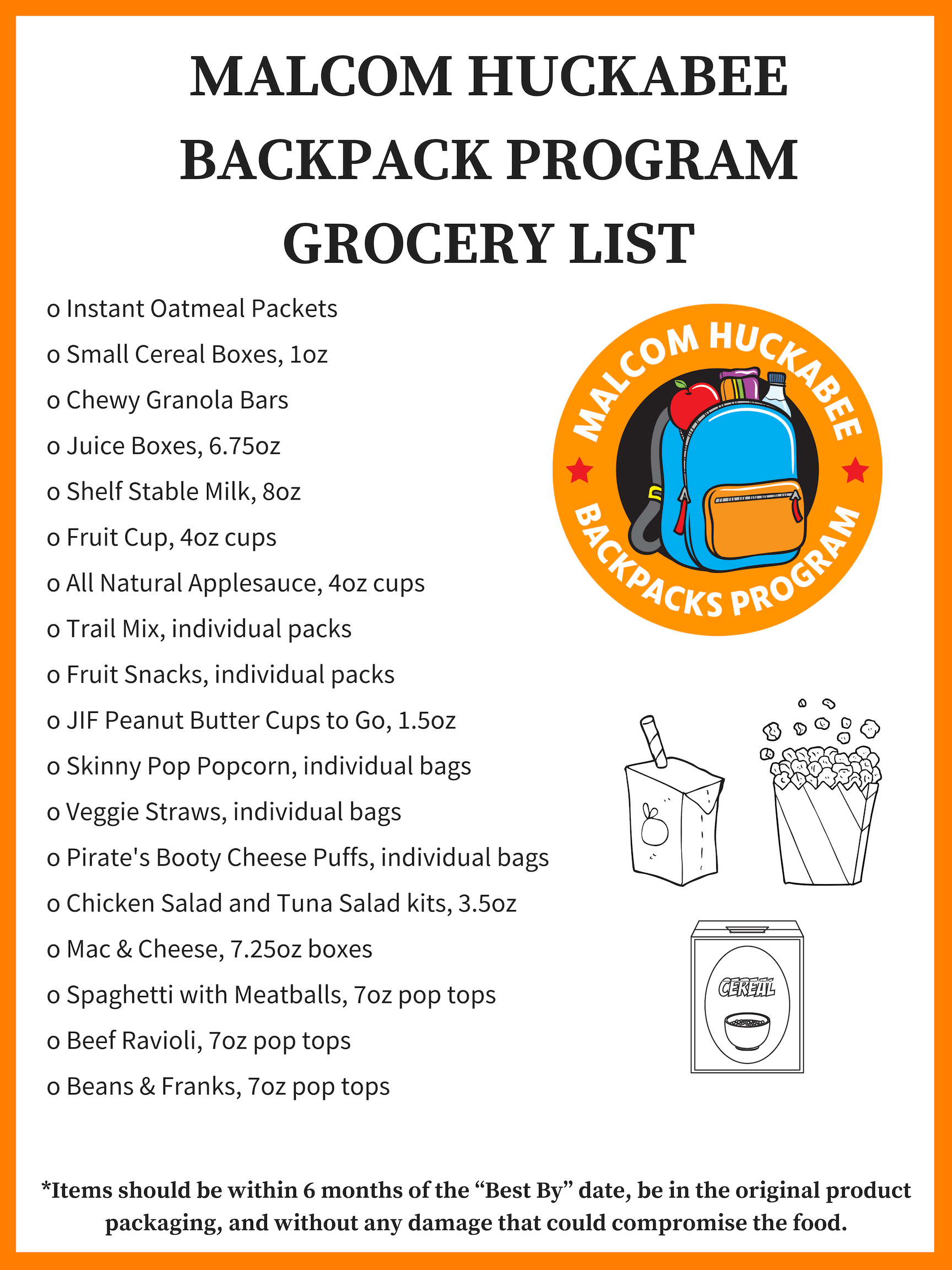 Malcom Huckabee Backpacks Program Grocery List