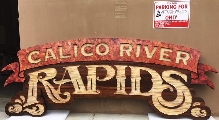 "GA16495- Large Engraved HDU ""Calico River Rapids""  Sign  for Knott's Berry Farm Amusement Park in California"
