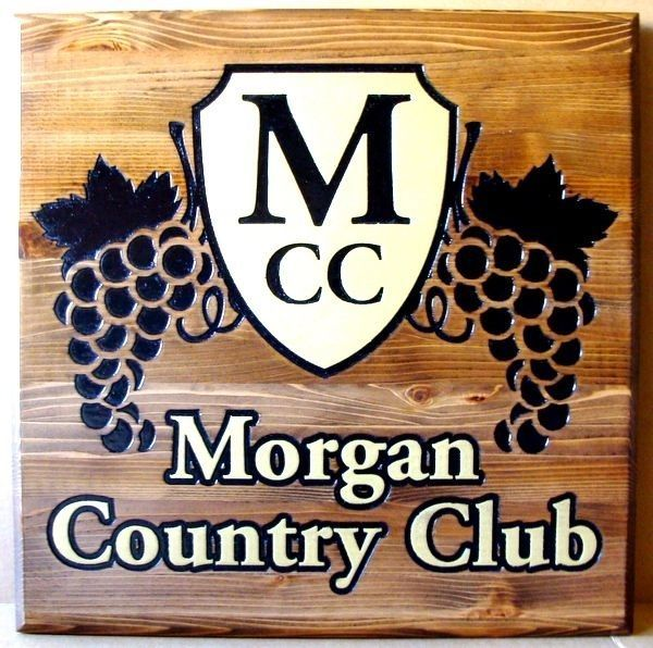 WP-1264 = Engraved Cedar Wood Plaque of the Logo for the Morgan Country Club
