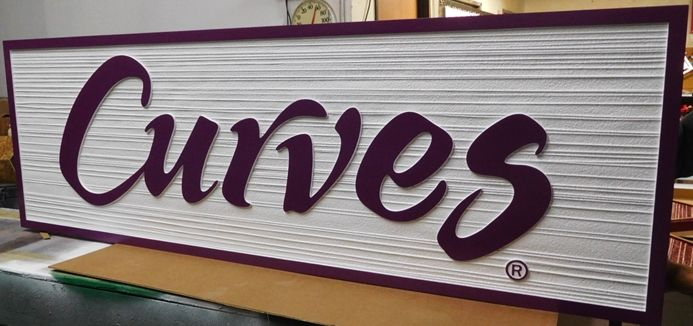 """S28106 - Large Carved and Sandblasted Wood Grain  HDU Commercial Sign  for the """"Curves """" Store, 2.5-D Artist-Painted"""