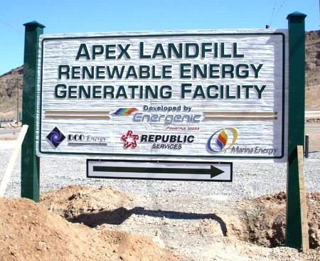 """S28055 - Large Post-and-Panel 2.5-D Sandblasted (Wood Grain) HDU Sign for the """"Apex Landfill for  Renewable Energy Generating Facility """""""