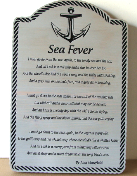 "V31392 - ""Sea Fever"" Engraved Cedar Wall Plaque, Poem by John Masefield"