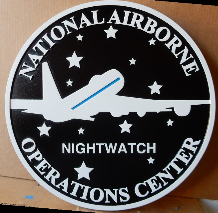 IP-1900 - Carved Plaque of the Seal of the US National Airborne Operations Center, Artist Painted