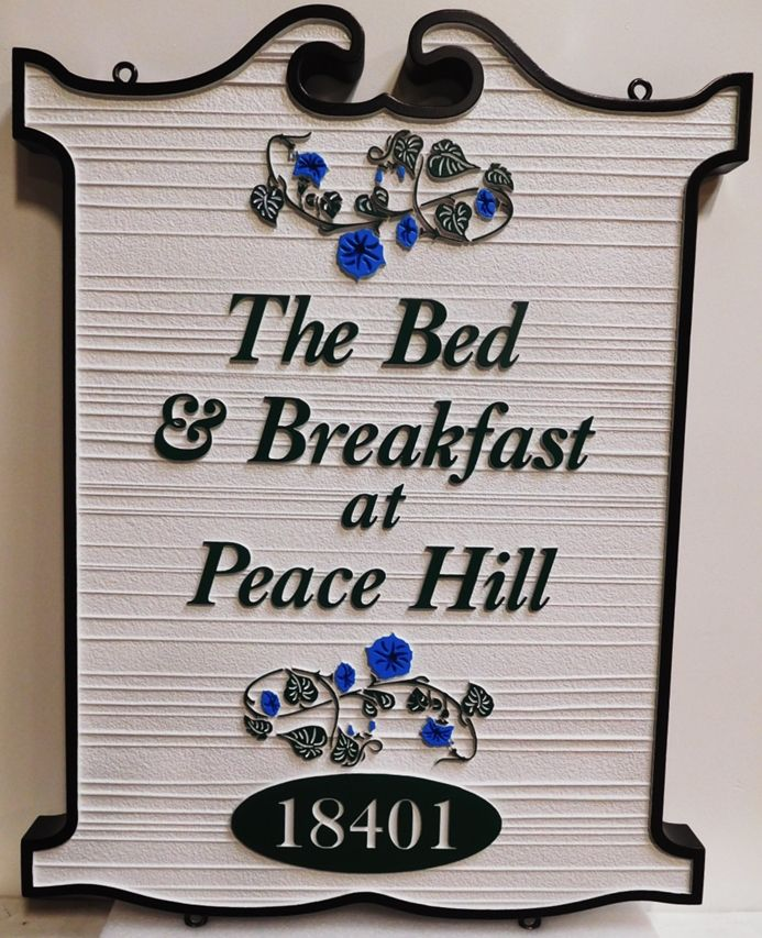"T29078 - Carved and Sandblasted Wood Grain Ornate Sign  for the ""The Bed & Breakfast Inn at Peace Hill"" , 2.5-D with Flowers as Artwork"