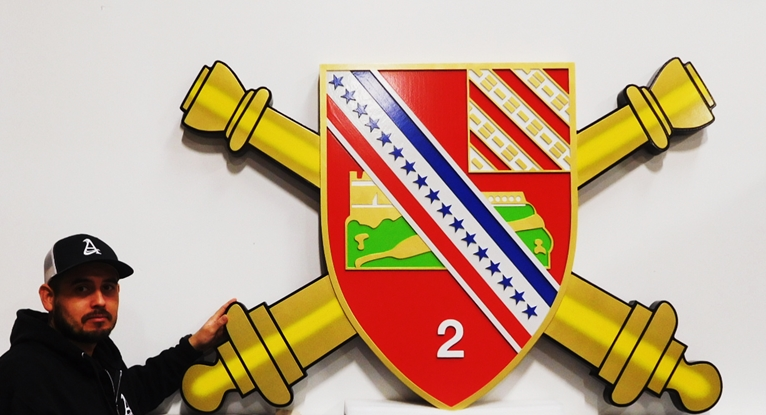 MP-1630 - Carved Plaque of the Insignia of a US Army Unit, 2.5D Artist Painted