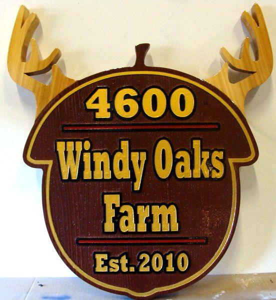 "O24560 - Wood Address Sign for ""Windy Oaks Farm"""