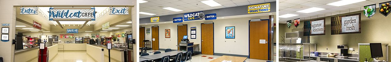 3 pictures of custom signs in school café, main line signs, food art, school lunch posters
